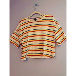 70s Inspired Striped Crop Top